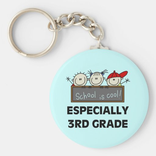 3rd Grade School is Cool Tshirts and Gifts Basic Round Button Keychain