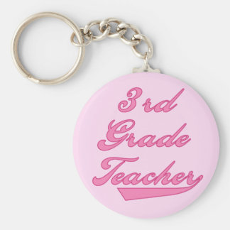 3rd Grade Teacher Pink Tshirts and Gifts Keychain