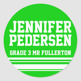 3rd Grader school education name id sticker green