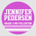 3rd Grader school education name id sticker purple