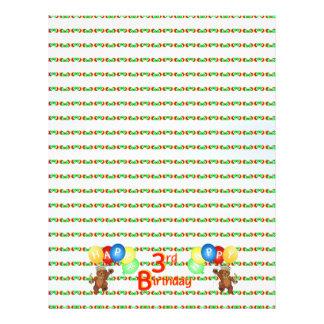 3rd Happy Birthday Bear Scrapbook Paper 5