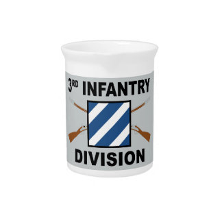 3rd Infantry Division - Crossed Rifles - With Text Beverage Pitcher