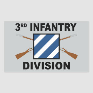 3rd Infantry Division - Crossed Rifles - With Text Rectangular Sticker