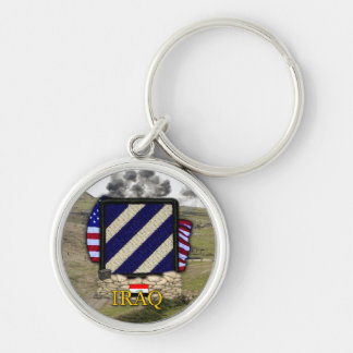 3rd infantry division iraq war veterans vets Silver-Colored round keychain