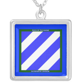 3rd Infantry Division Keychain Silver Plated Necklace