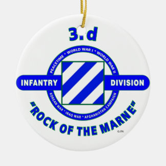 "3RD INFANTRY DIVISION""ROCK OF THE MARNE"" CERAMIC ORNAMENT"