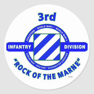 """3RD INFANTRY DIVISION""""ROCK OF THE MARNE"""" CLASSIC ROUND STICKER"""