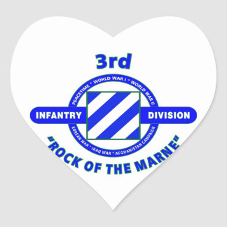 """3RD INFANTRY DIVISION""""ROCK OF THE MARNE"""" HEART STICKER"""