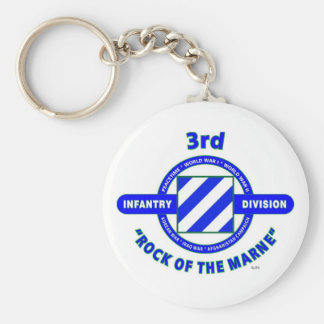 "3RD INFANTRY DIVISION""ROCK OF THE MARNE"" BASIC ROUND BUTTON KEYCHAIN"