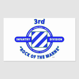 """3RD INFANTRY DIVISION""""ROCK OF THE MARNE"""" RECTANGULAR STICKER"""