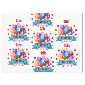 "3rd KIDS Birthday Festive Colorful Balloons B10AZ 17"" X 23"" Tissue Paper"