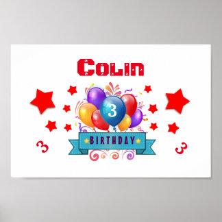 3rd KIDS Birthday Festive Colorful Balloons B10AZ Poster
