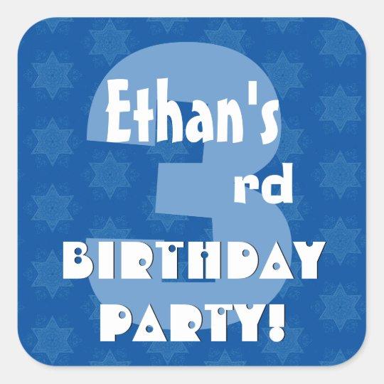 3rd Kids Birthday Party Custom Name Square Sticker
