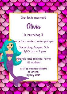 3rd Mermaid Birthday Party Invitation Pink Purple