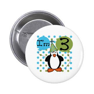 3rd Penguin Birthday Pinback Button