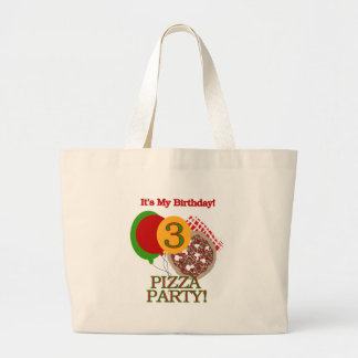 3rd Pizza Party Birthday Large Tote Bag