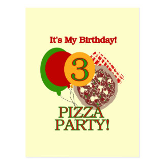 3rd Pizza Party Birthday Tshirts and Gifts Postcard