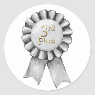 3rd Place Ribbon Stickers Round Sticker