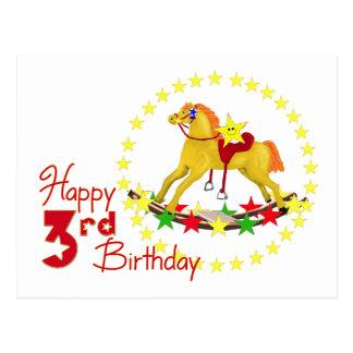 3rd Rocking Horse Birthday Postcard