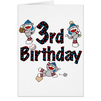 3rd Sock Monkey Baseball Birthday Greeting Card