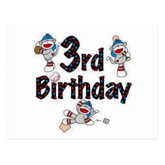 3rd Sock Monkey Baseball Birthday Postcard