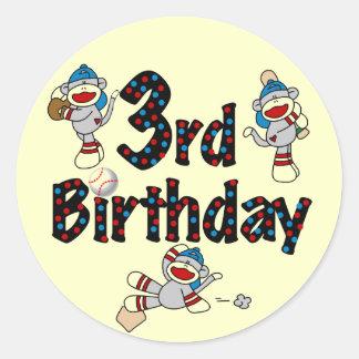 3rd Sock Monkey Baseball Birthday Round Stickers