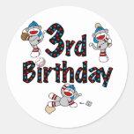 3rd Sock Monkey Baseball Birthday Classic Round Sticker