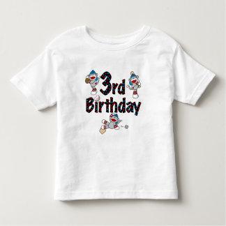 3rd Sock Monkey Baseball Birthday Toddler T-shirt