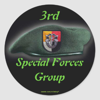 3rd Special Forces Green Berets SF SFG SOF Veteran Classic Round Sticker