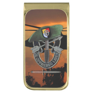 3rd Special Forces Group Green Berets SF SFG Gold Finish Money Clip