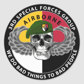 3rd Special Forces Group Skull Classic Round Sticker