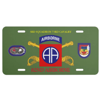 3RD SQUADRON 73RD CAVALRY 82ND ABN LICENSE PLATE