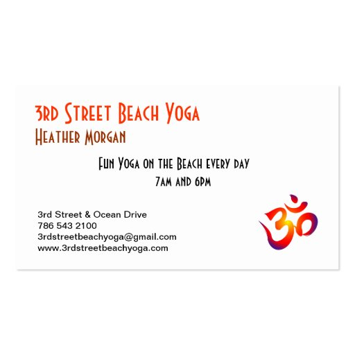 3rd Street Beach Yoga Business Cards