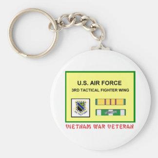 3RD TACTICAL FIGHTER WING VIETNAM WAR VET BASIC ROUND BUTTON KEYCHAIN