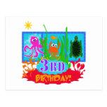 3rd Undersea Adventure Birthday Tshirts Post Cards