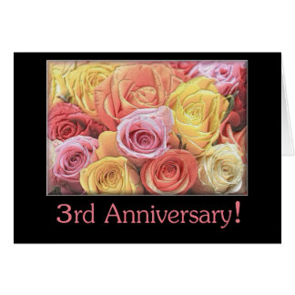 3rd Wedding Anniversary mixed rose bouquet Greeting Card
