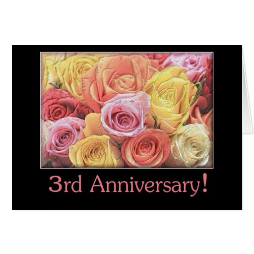 Rd wedding anniversary mixed rose bouquet card zazzle