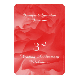 3rd Wedding Anniversary Party, Coral Rose Petals Card
