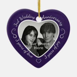 3rd Wedding Anniversary Photo Double-Sided Heart Ceramic Christmas Ornament