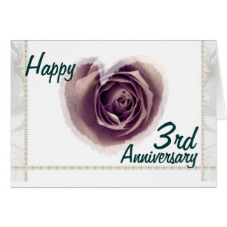 3rd Wedding Anniversary - Purple Rose Heart Greeting Card