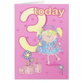 3ro ángel del pastel de la tarjeta de cumpleaños