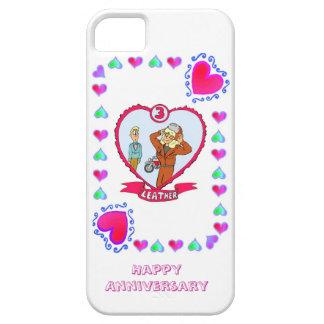 3ro aniversario de boda, cuero iPhone 5 carcasa