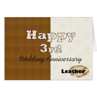 3ro aniversario de boda feliz tarjeta de felicitación