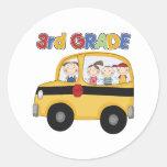 3ro Autobús de escuela primaria Etiqueta Redonda