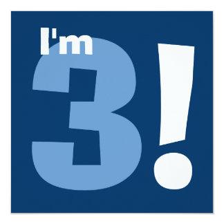 3ro azul del cumpleaños del niño moderno conocido invitacion personal