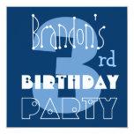 3ro azul del cumpleaños del niño moderno conocido invitaciones personalizada