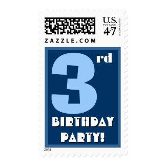 3ro Azul intrépido de la fiesta de cumpleaños y Sello