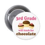 3ro botón divertido del profesor del grado pins