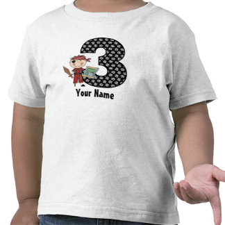 3ro Camisa personalizada pirata del cumpleaños