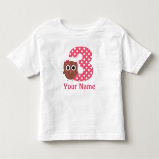 3ro Camiseta personalizada búho del chica del